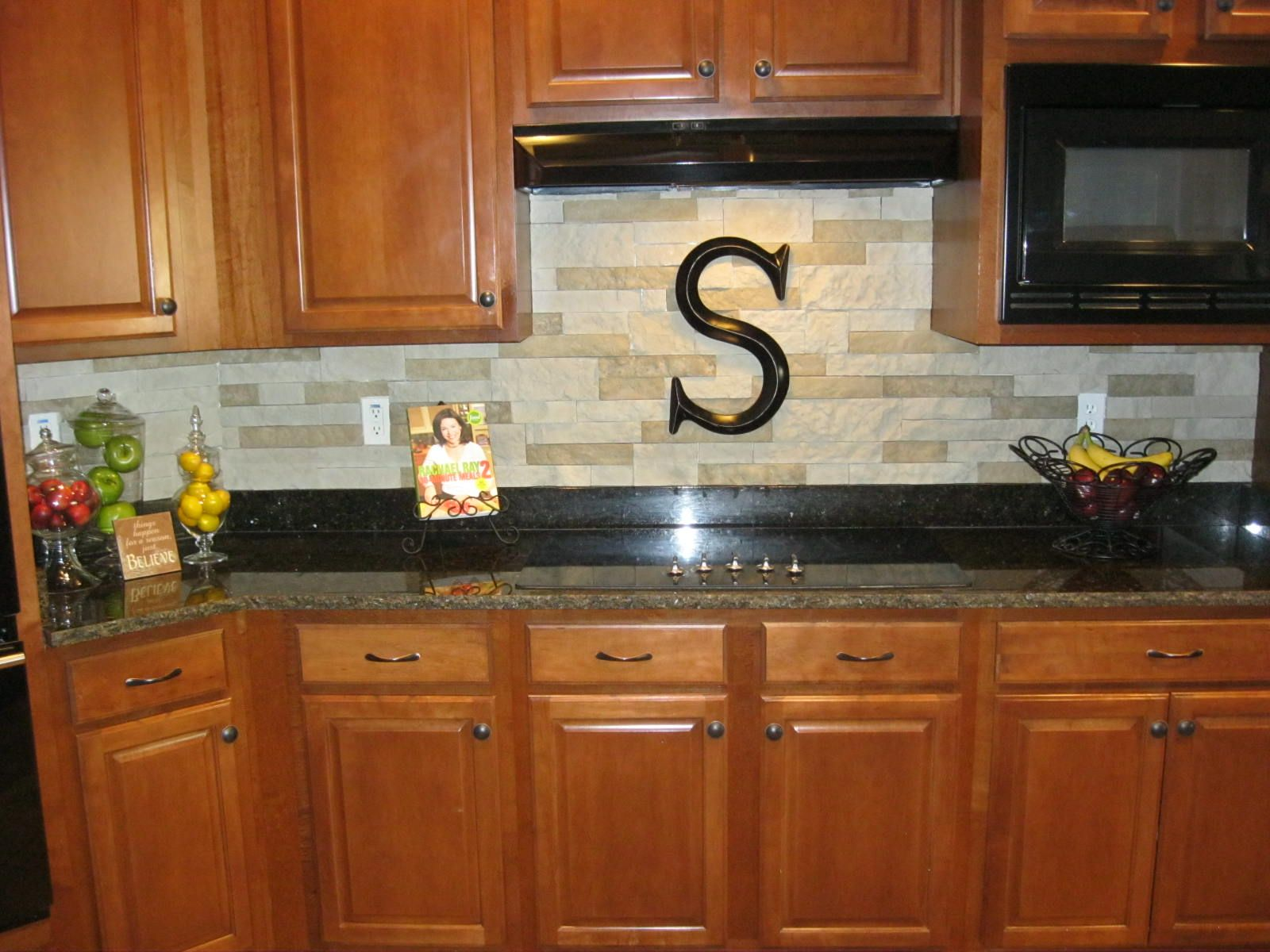 our new stacked stone backsplash we used airstone sold at on kitchen remodeling ideas and designs lowe s id=18808