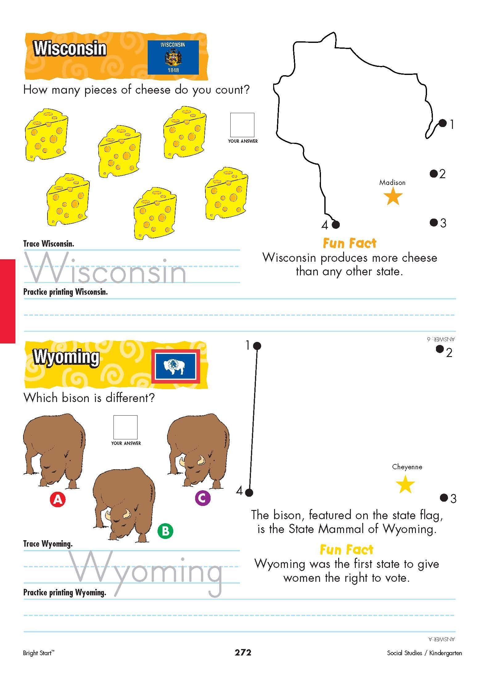 Wisconsin And Wyoming Your Kindergartener Can Practice