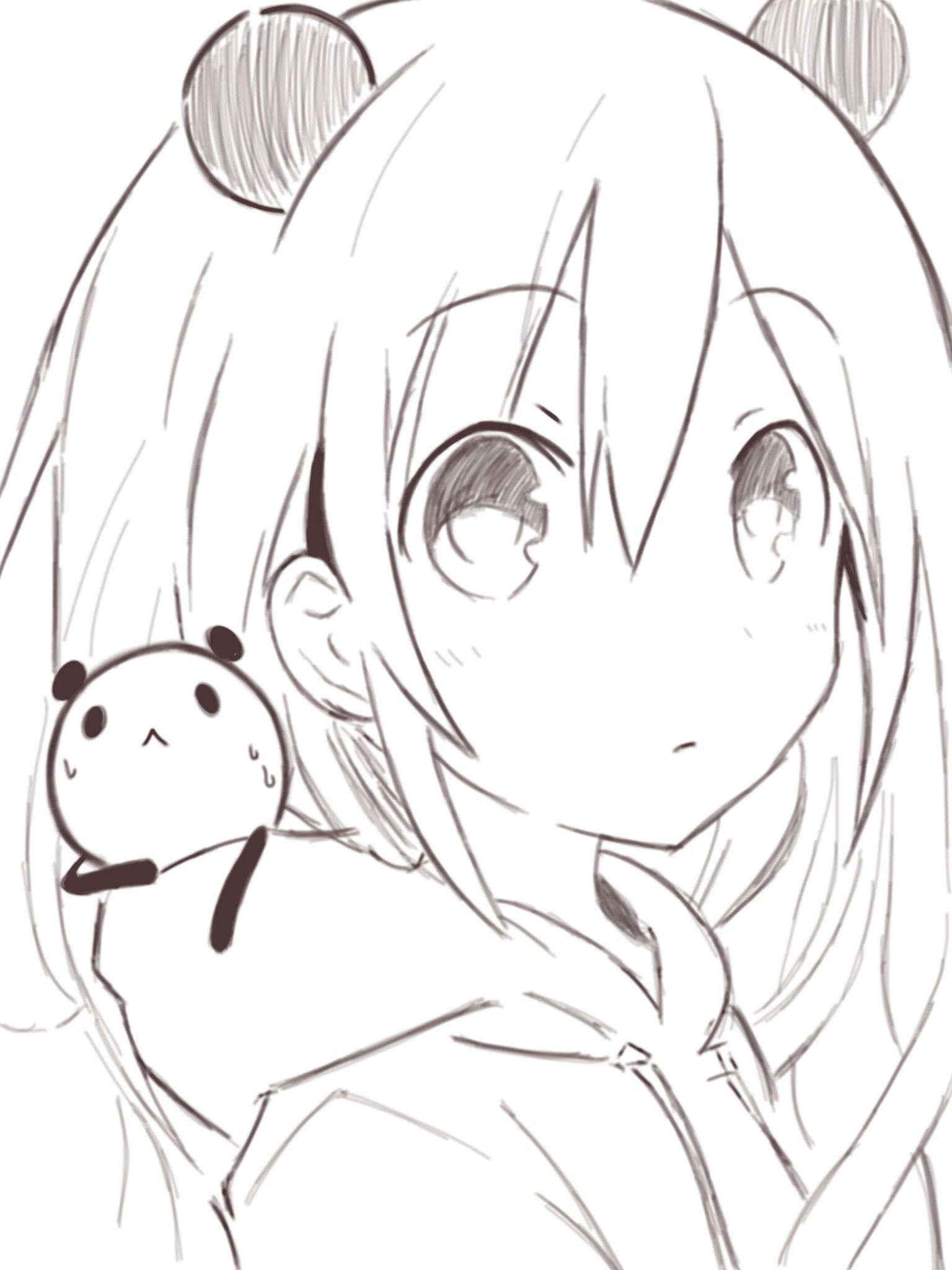 Anime Anime Girl Short White Hair Panda Kawaii