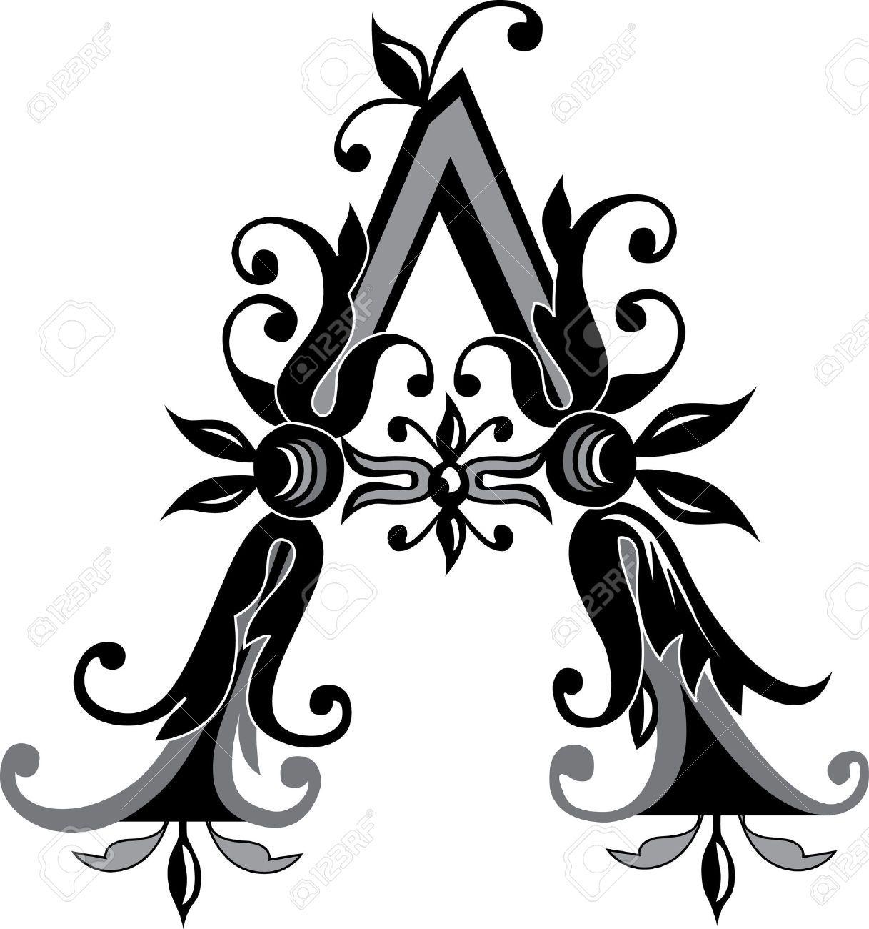 Foliage English Alphabet Letter A Black And White