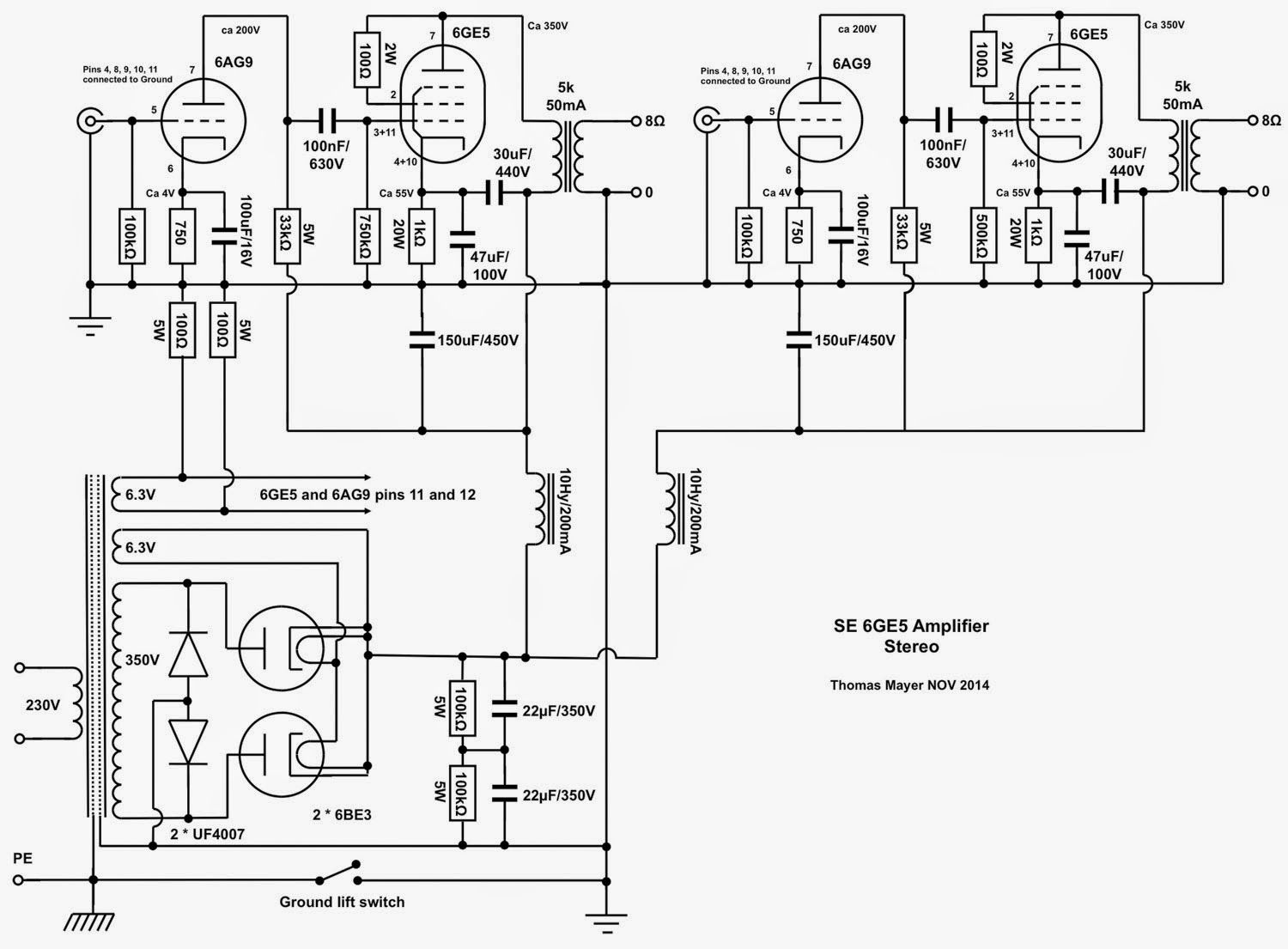 Vinylsavor 6ge5 Stereo Amplifier Part 1 Circuit