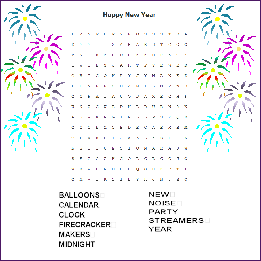 photo about New Years Word Search Printable named Phrase Appear Contemporary 12 months Printable Merry Xmas And Content