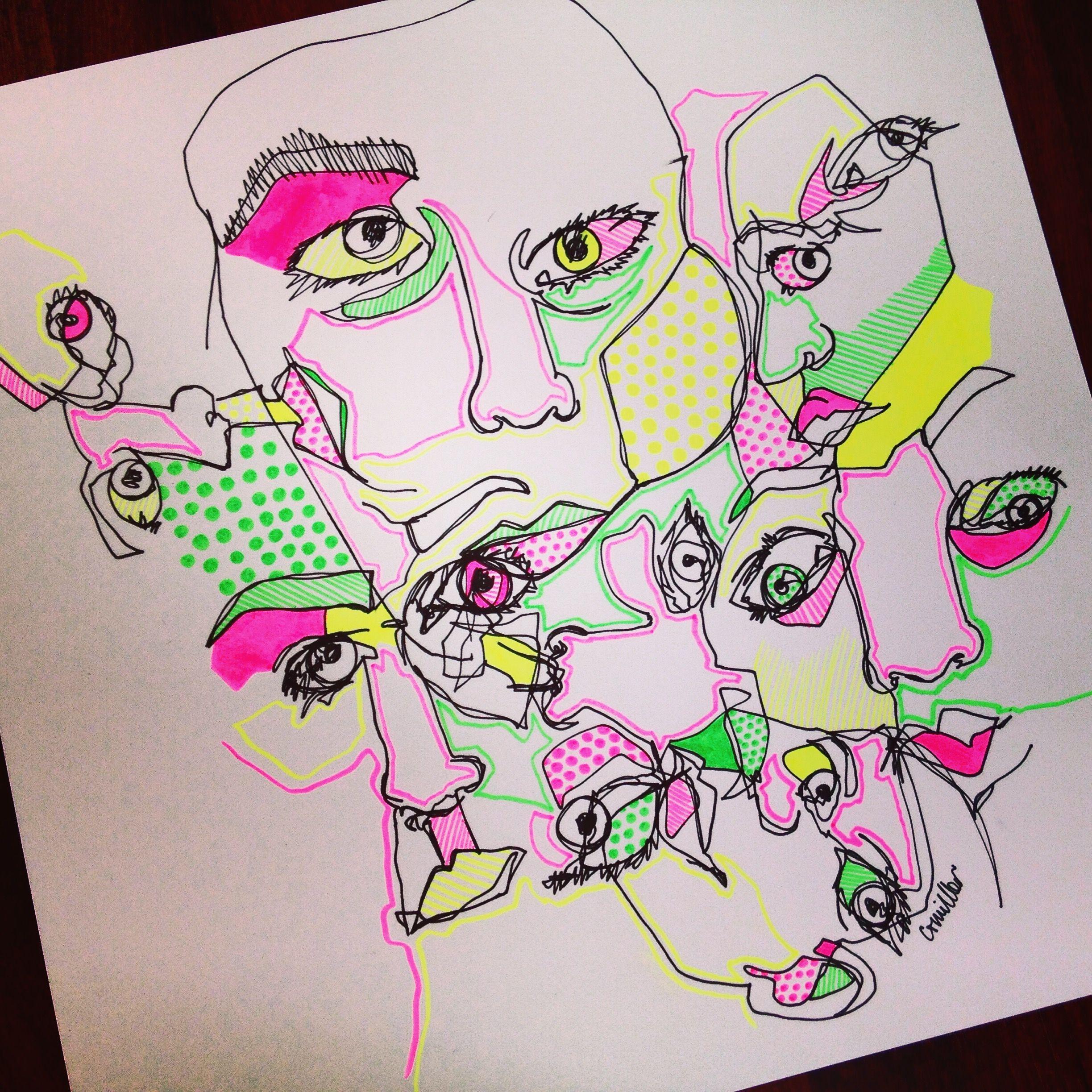 Self Portrait Blind Contour Drawings In Black Ink