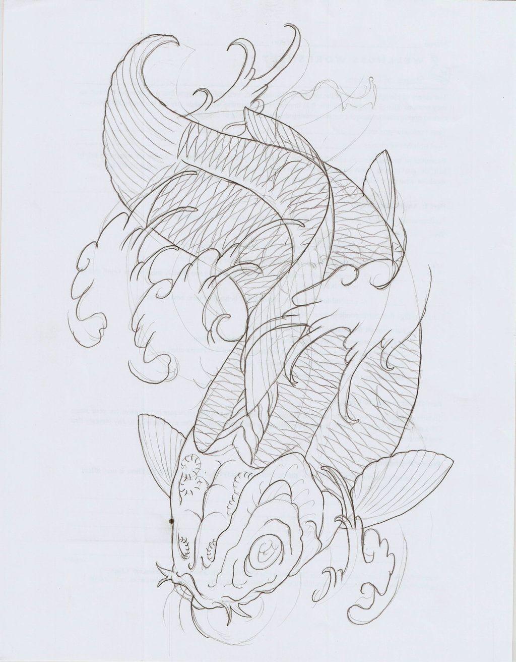 Koi Fish Xi Outline By Eltri On Deviantart