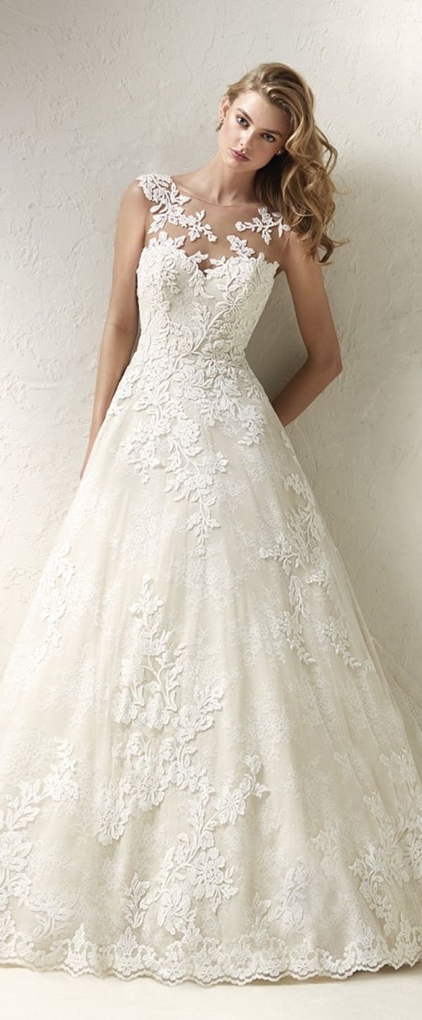 Modest Tulle Jewel Neckline Aline Wedding Dress With Lace Appliques