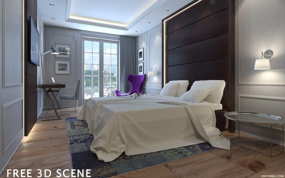 UNIFORM4 FREE 3D MODEL HOTEL ROOM DONE IN 3D STUDIO