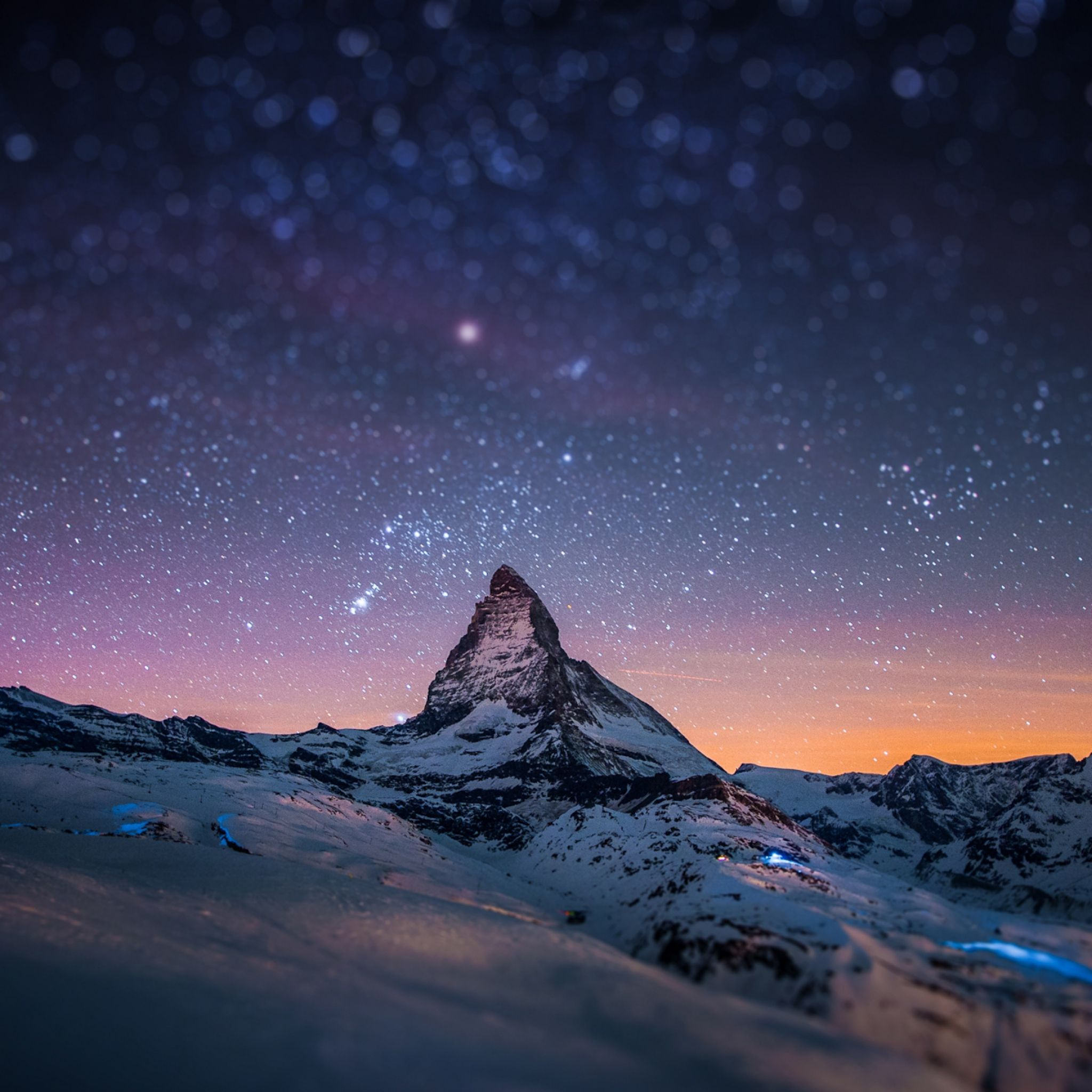 2048x2048 wallpaper mountain, peak, stars, sky, night, light, snow