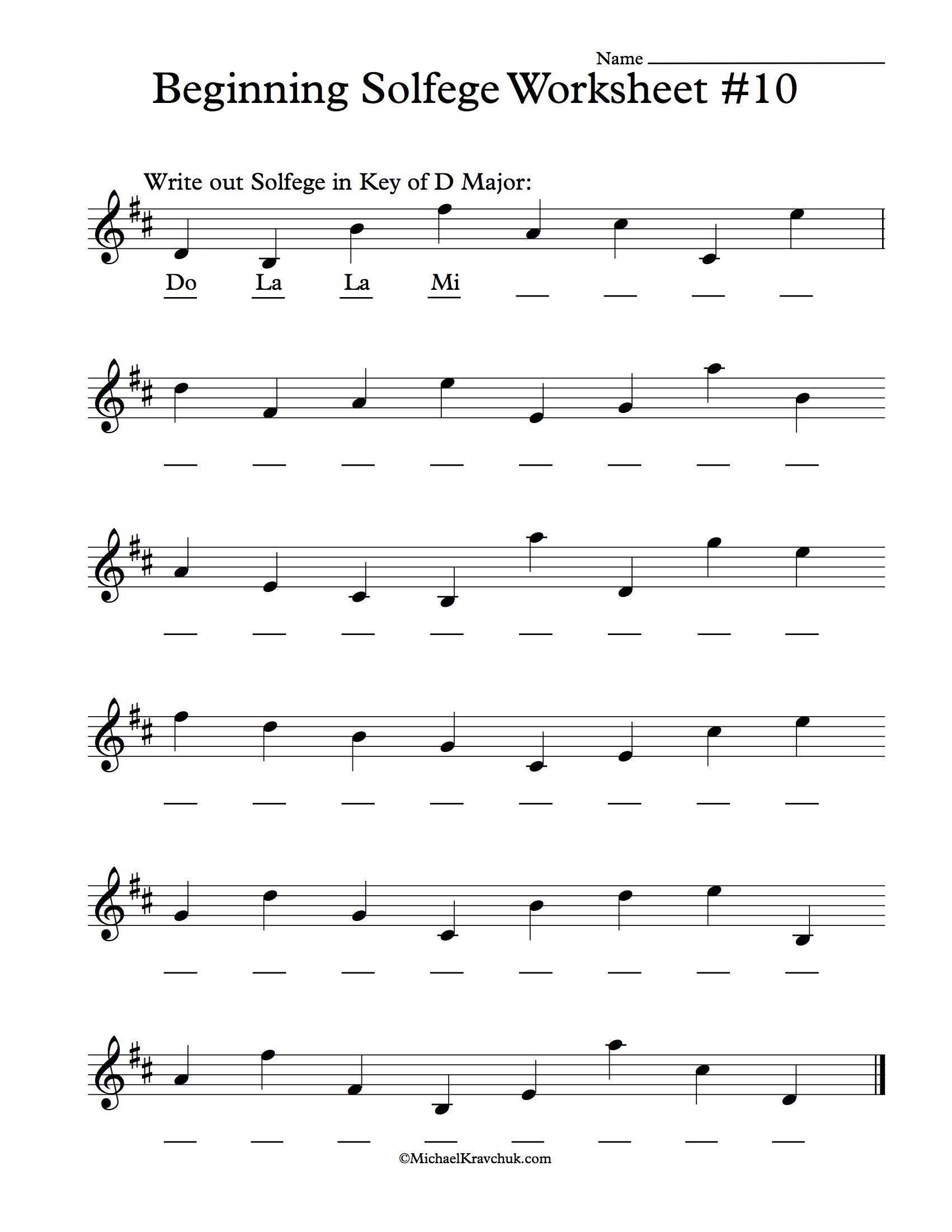 Beginning Solfege Worksheet 10 For Classroom Instructions