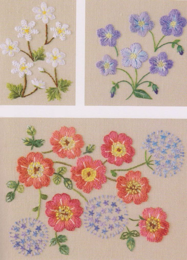 Set of Embroidery pdf e pattern hand stitch garden flower design