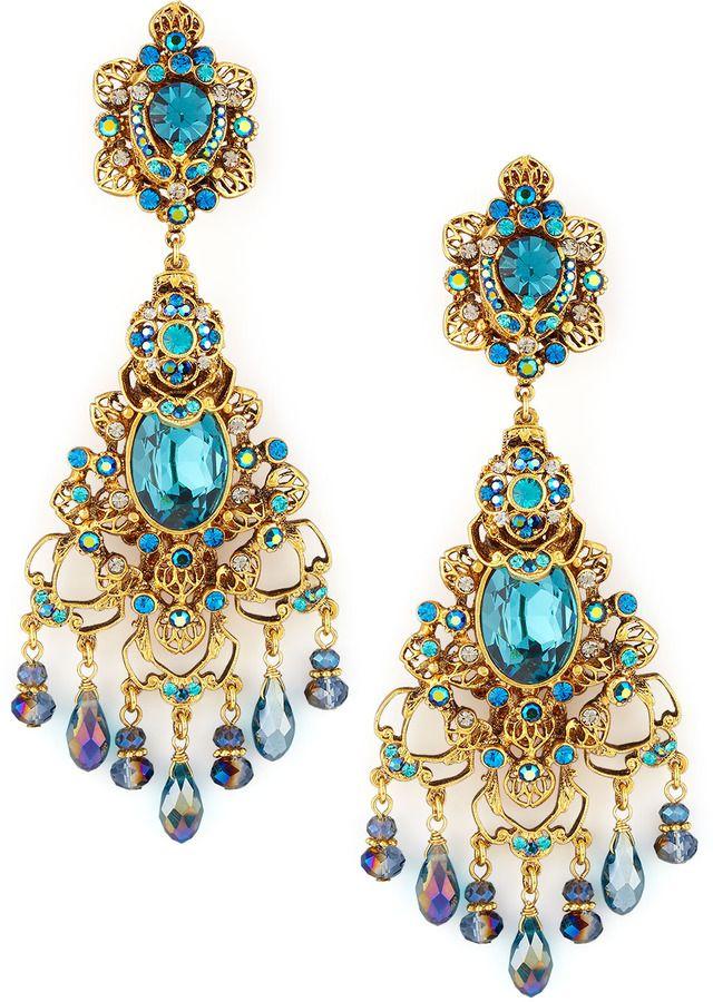 Jose Maria Barrera Filigree Chandelier Clip Earrings Gold Teal On Style