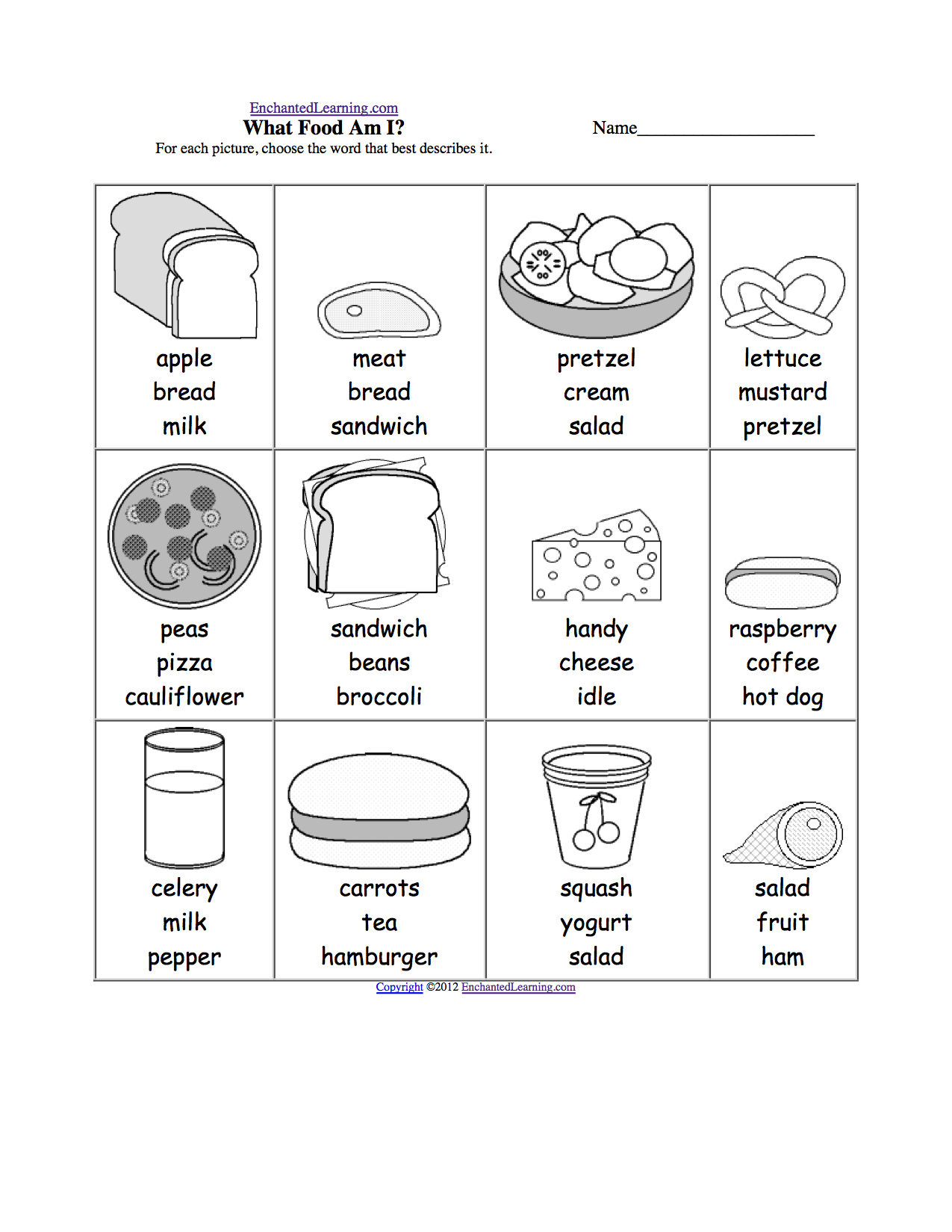 Pictures Of Healthy Foods For Kids To Color