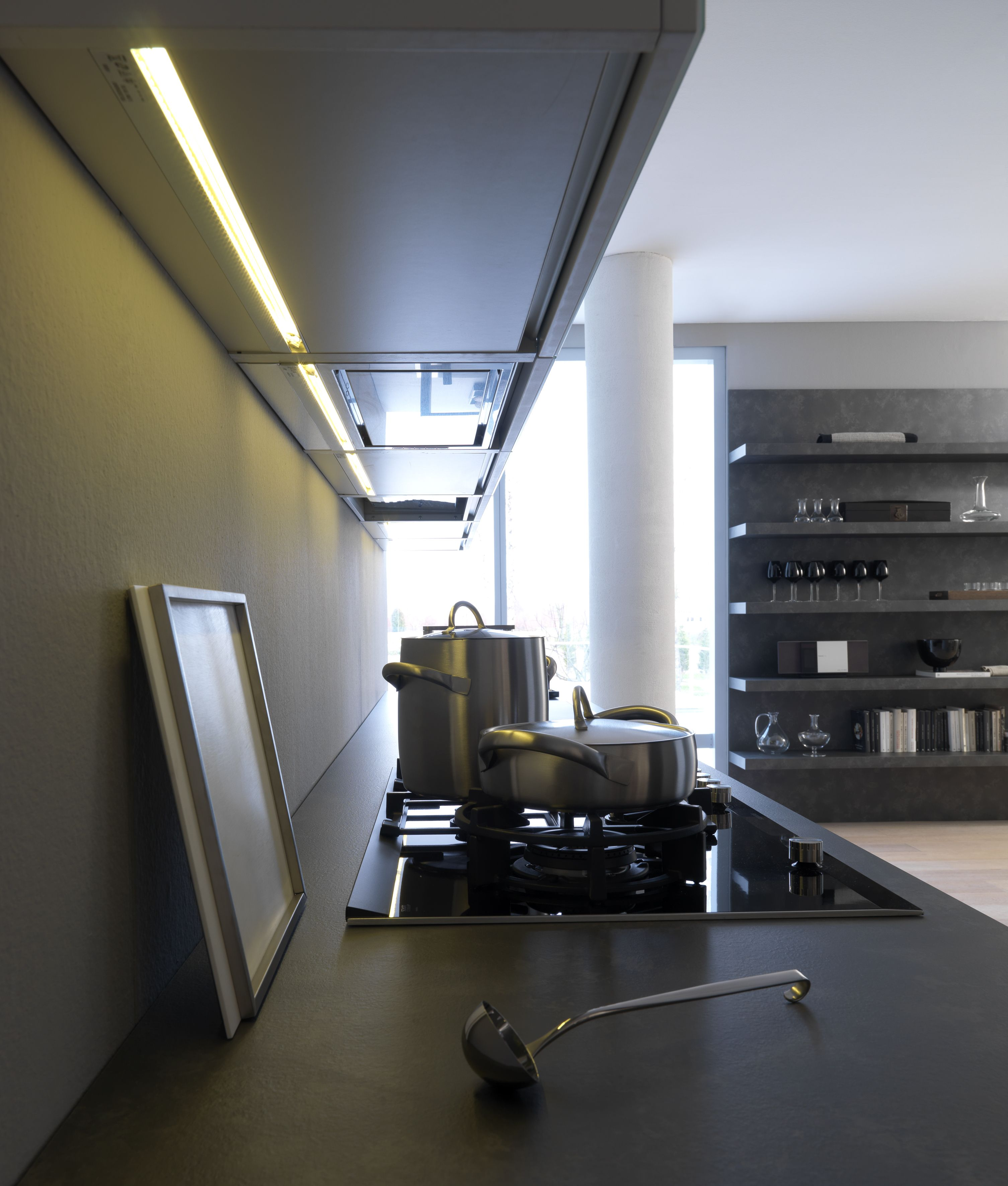 Modulnova Concept Line Kitchen Look Up An Integrated Technology Hood And Led Under Cabinet