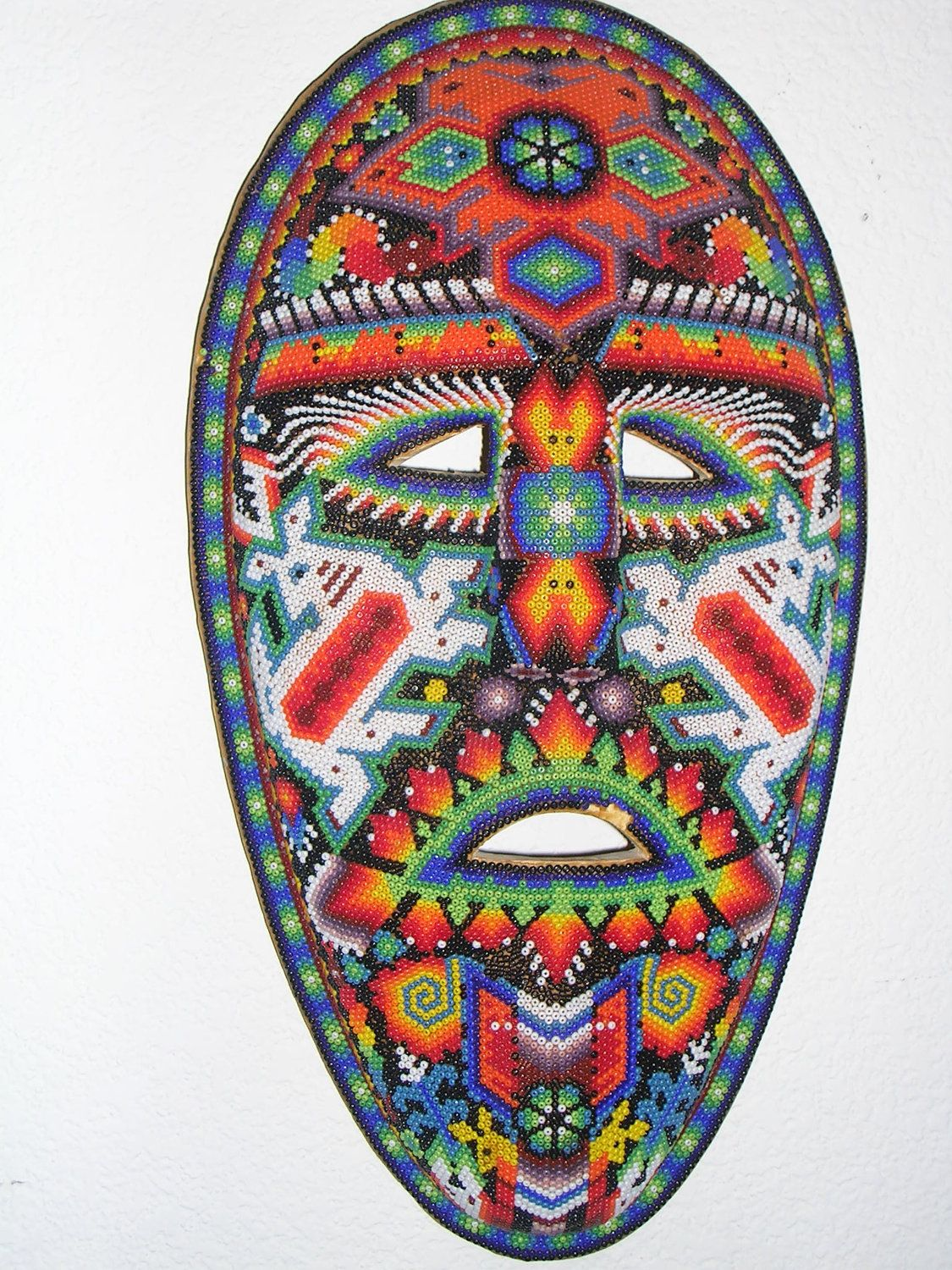 Unique Hand Beaded Carved Mask Made By The Huichol Native