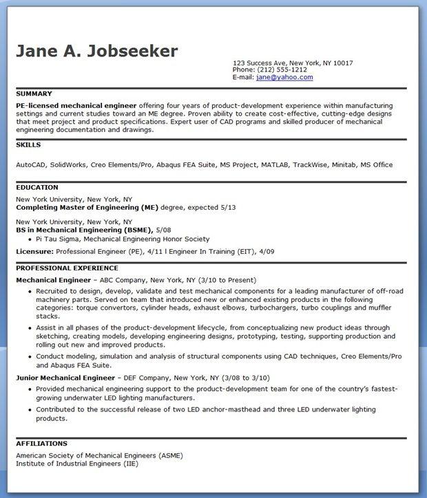 mechanical engineer resume samples experienced