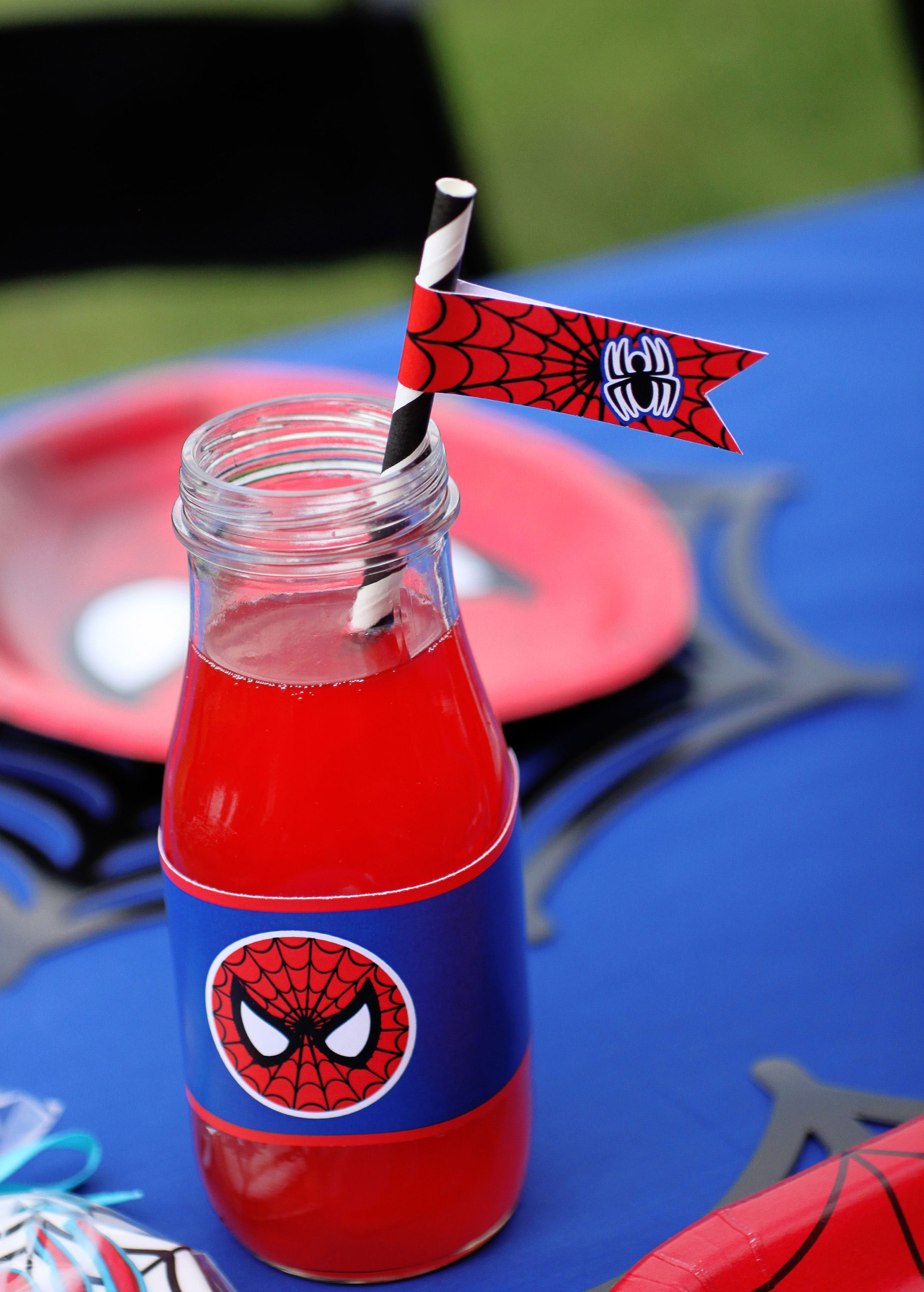 Spiderman Birthday Party Water Bottle Labels Straw Flags Printable Diy Spiderman