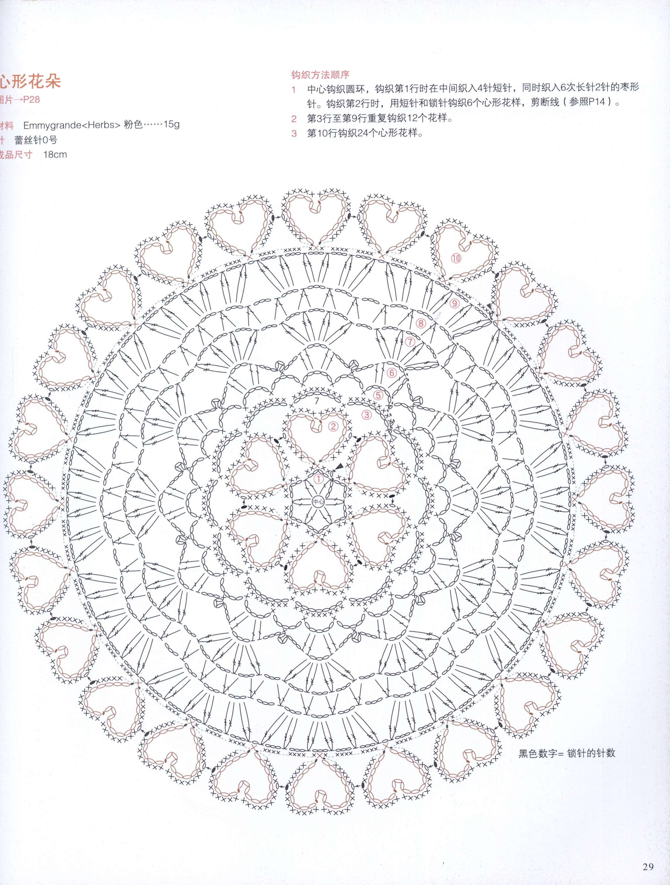 Crochet Round Motifs Whit Heart Diagram