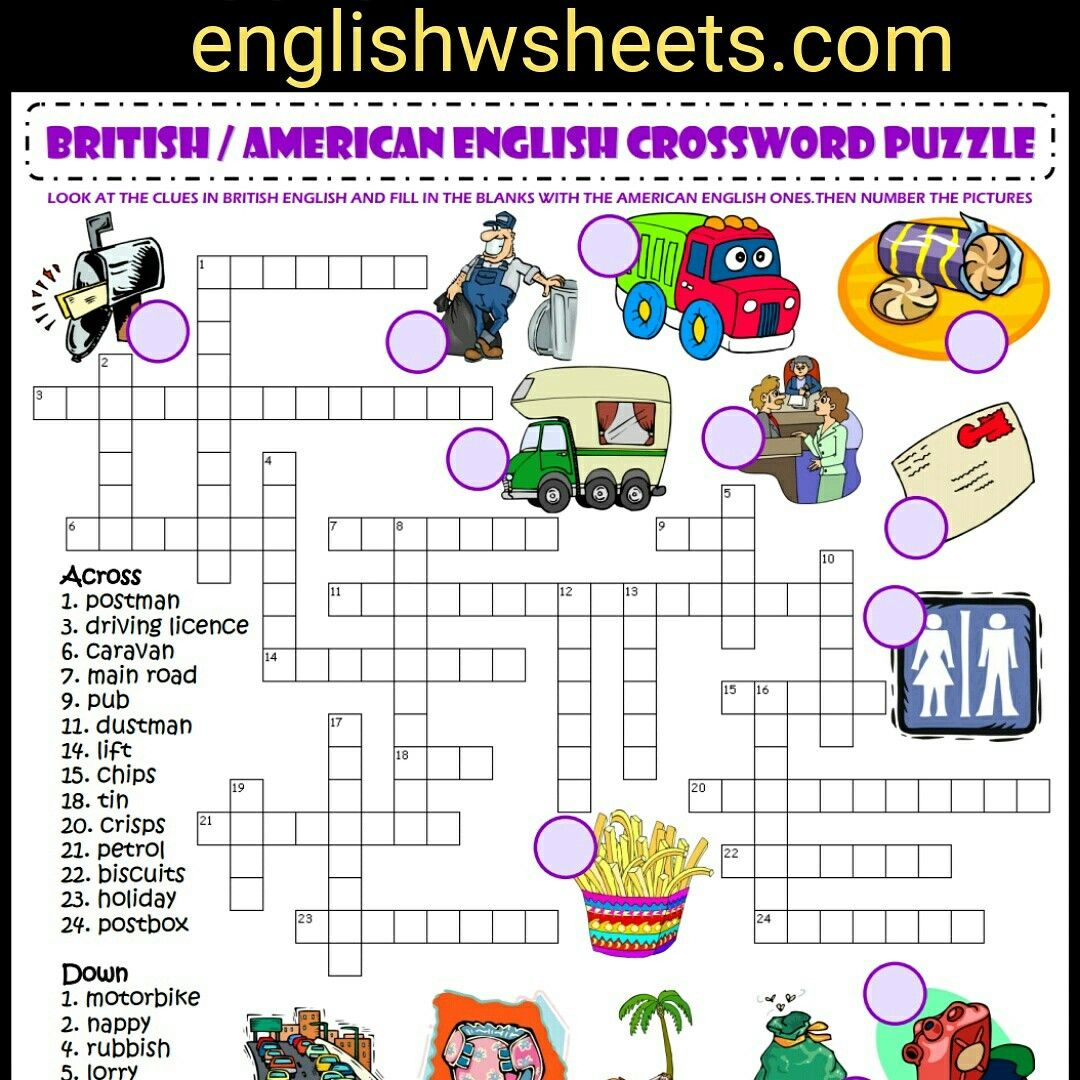 British American English Esl Printable Crossword Puzzle Worksheet For Kids British American