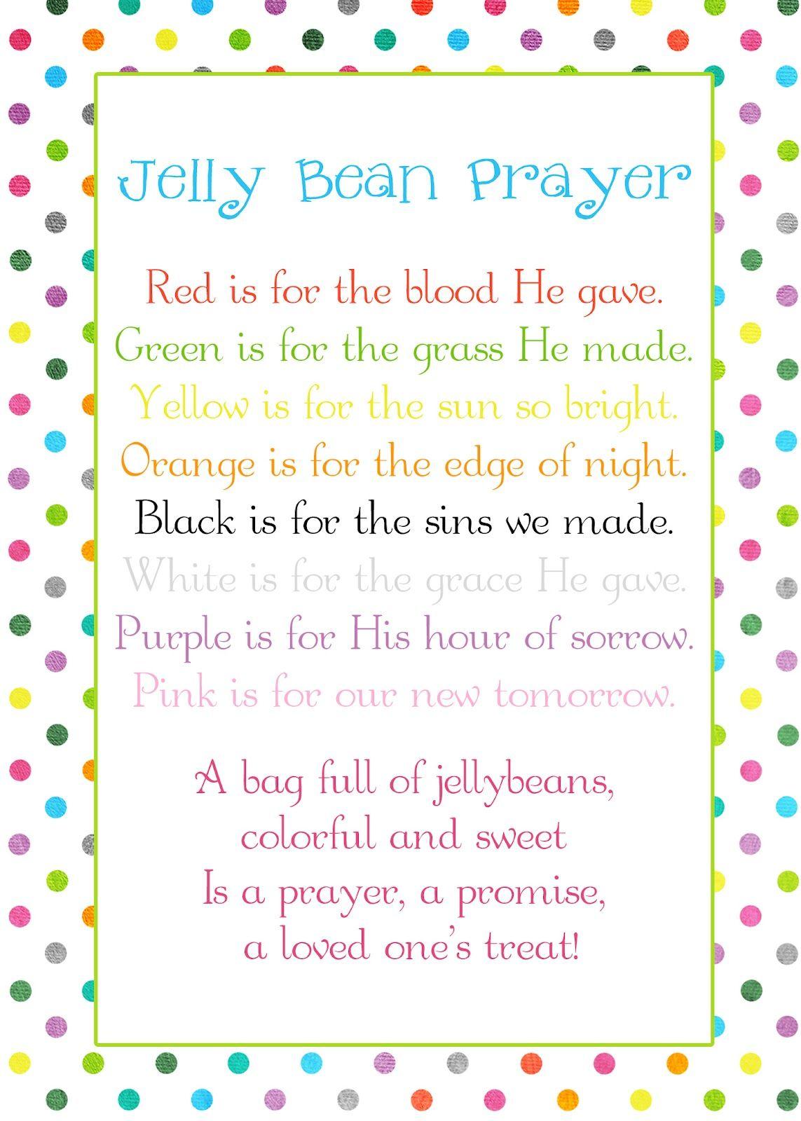 Poems For Kids Jelly Bean Prayer Poem