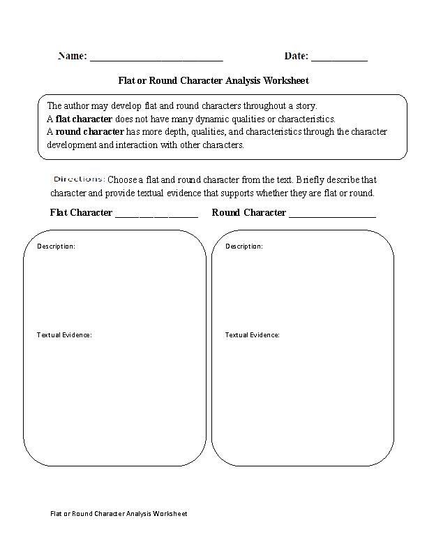 Flat Or Round Characterysis Worksheet