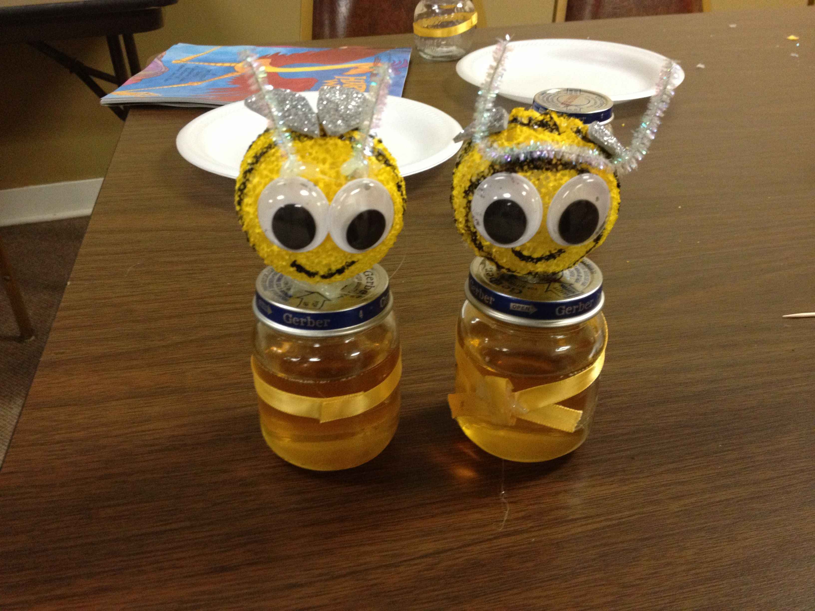 Rosh Hashanah Honeybee Jar Craft Using Styrofoam Balls Paint Pipe Cleaners Glitter Foam Cut