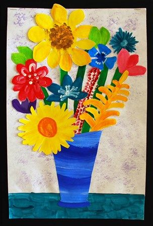 Van Gogh Style Collage Of Previously Painted Flowers In