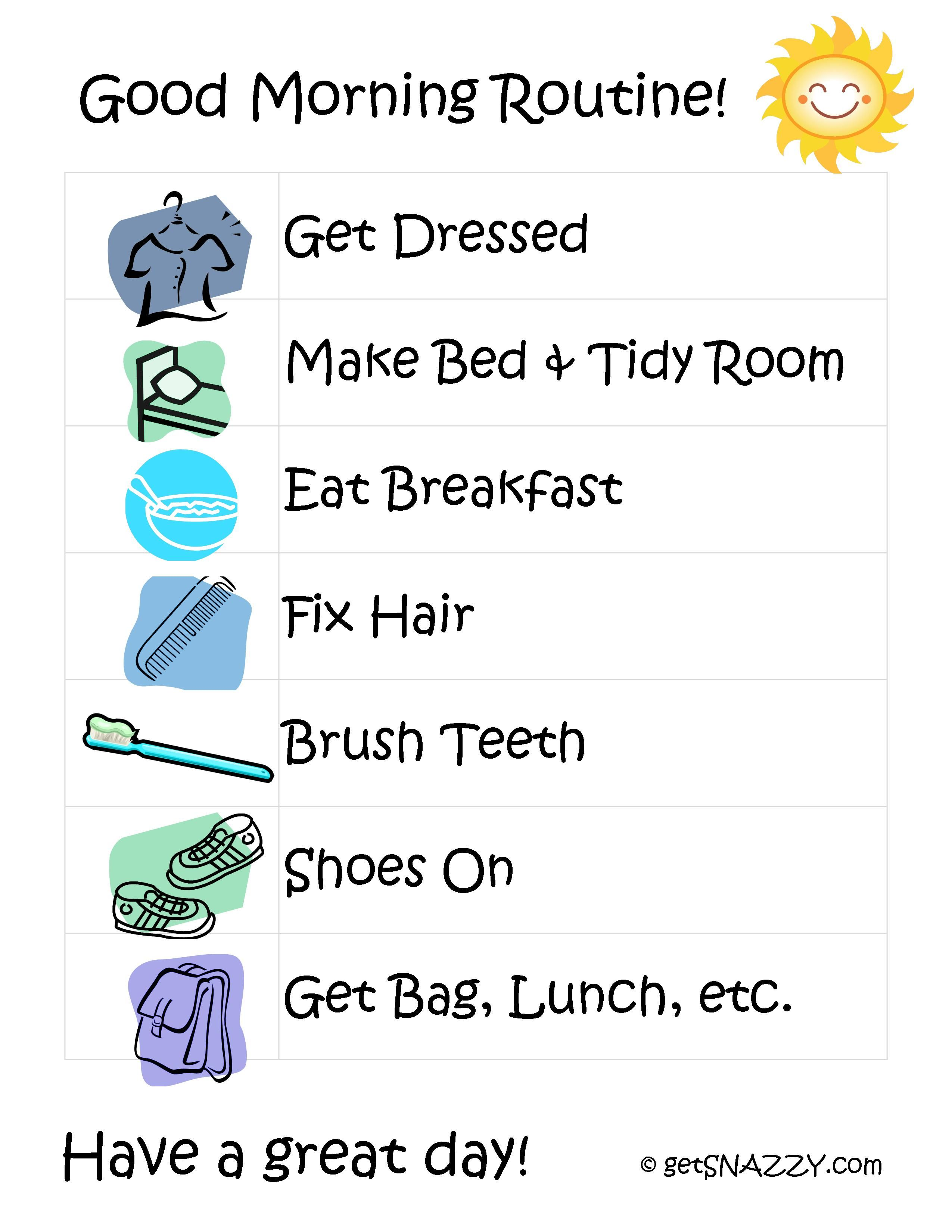 Morning Routines For Kids After School Routine Free