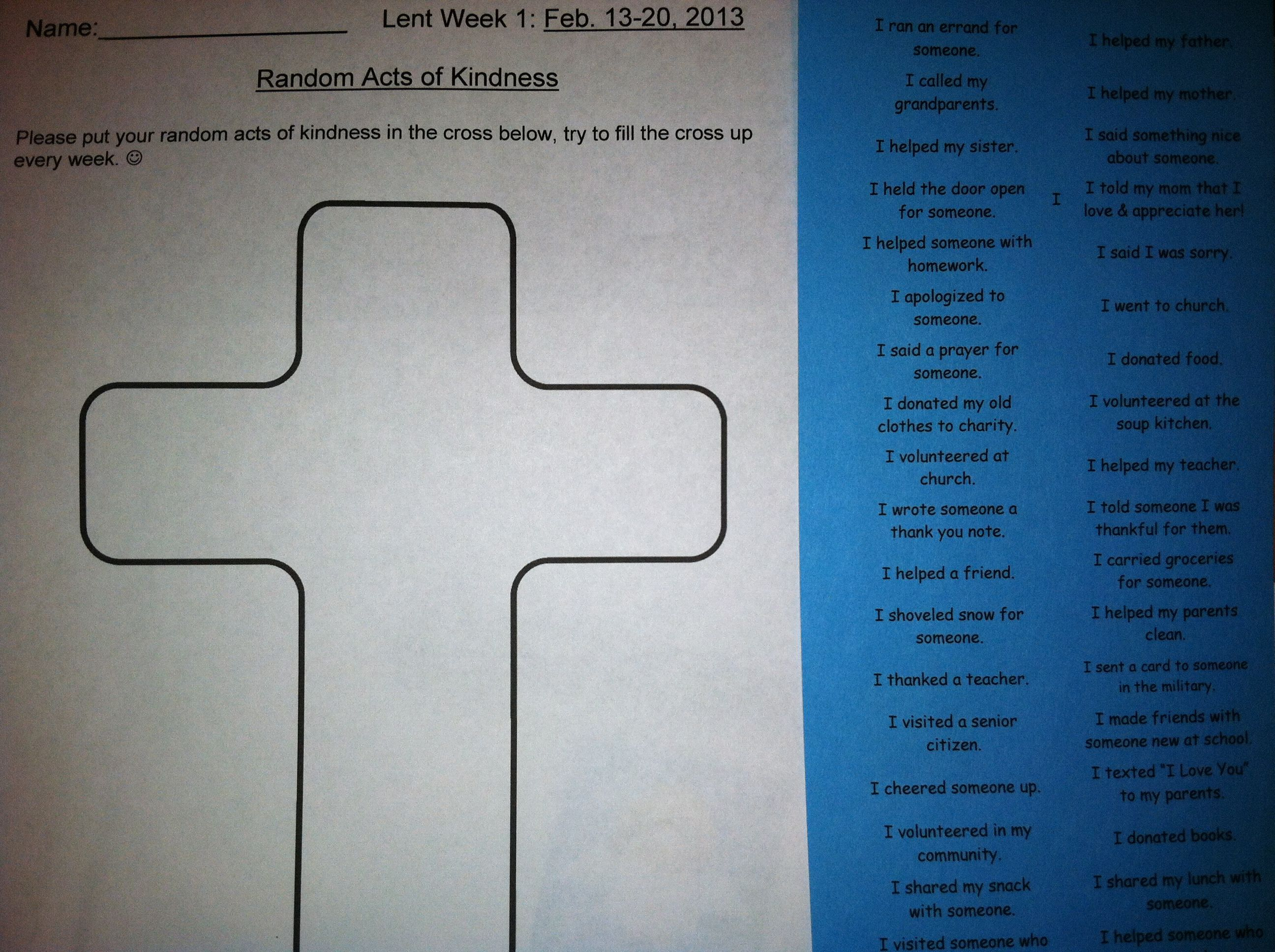 Here Is Our Random Act Of Kindness Weekly Lenten Cross Activity Students Can Cut And Past