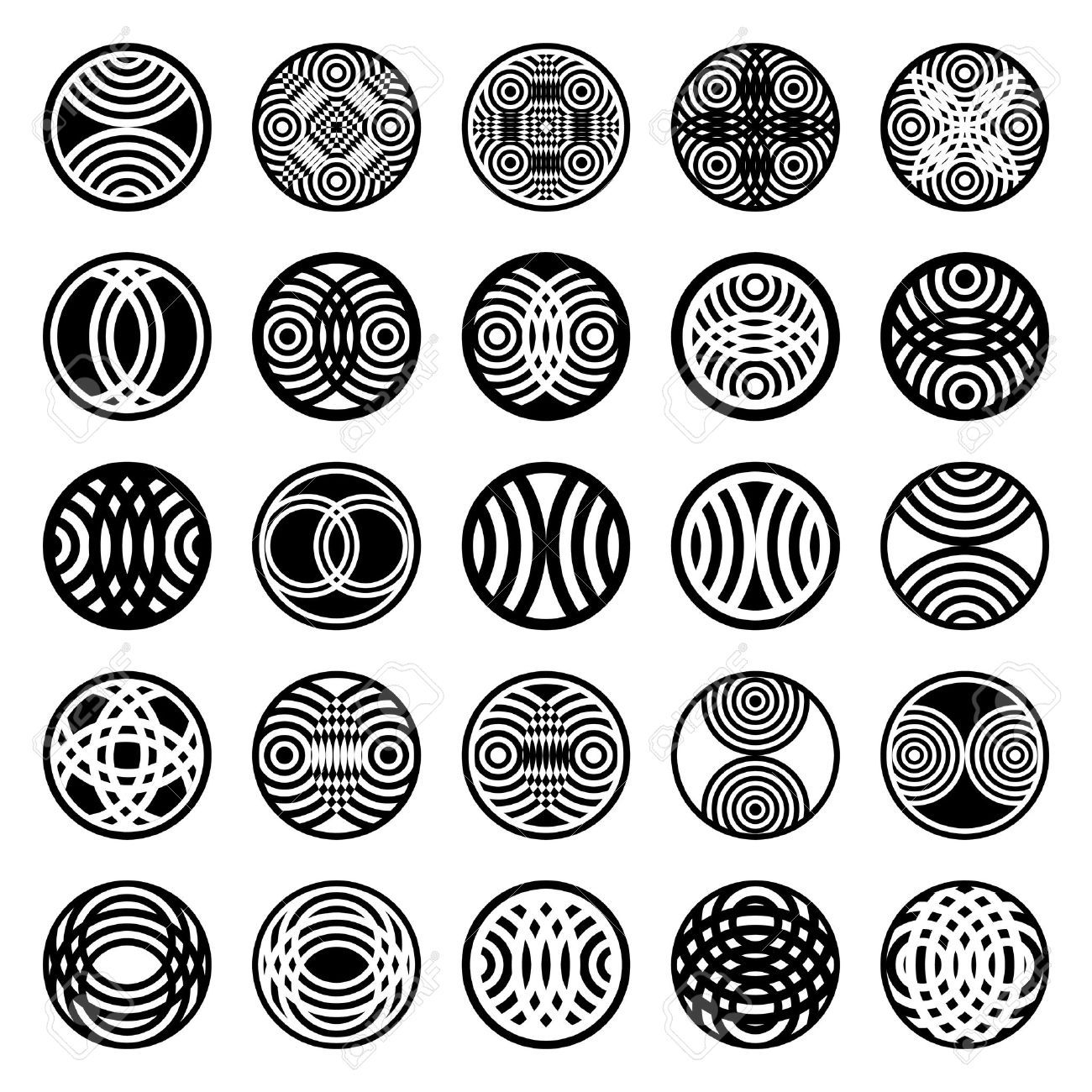 Patterns In Circle Shape 25 Design Elements Set 1