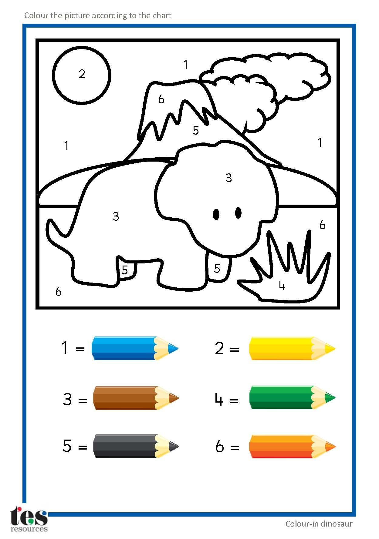 Simple Colour By Numbers Dinosaur Pictures With Clear