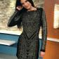 Black dress with rhinestones black