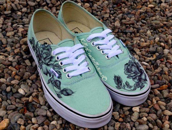 Custom hand drawn sharpie rose design vans shoes from