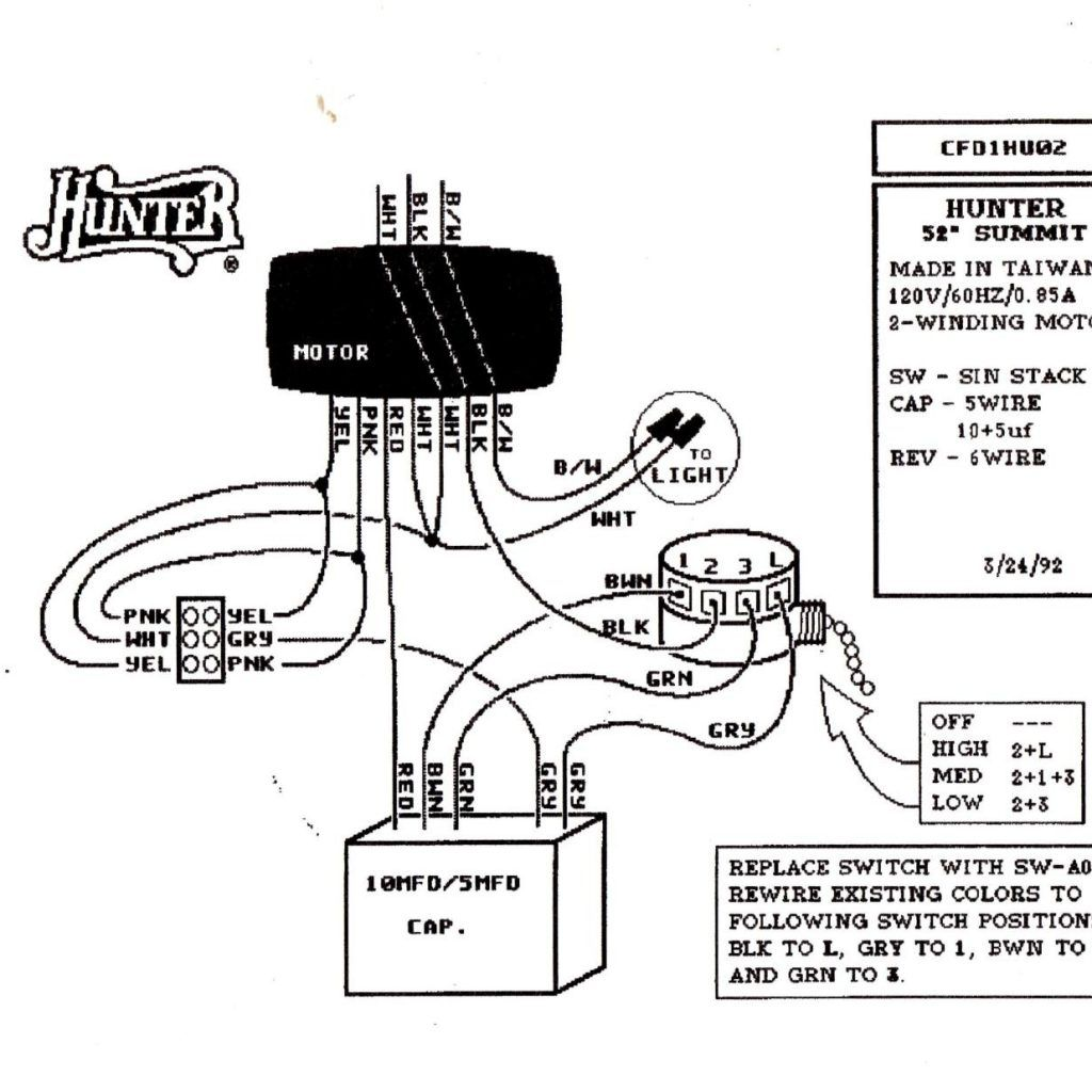Hunter ceiling fan motor wiring diagram