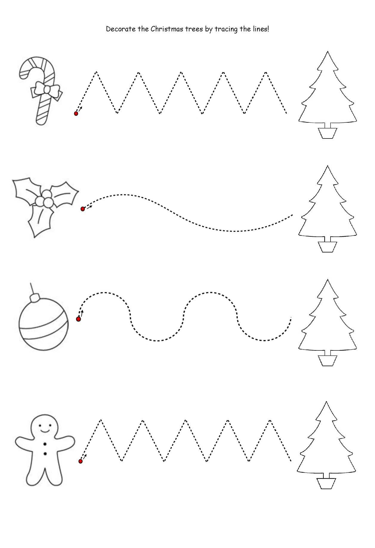 Worksheet Practice Tracing Christmas Trees