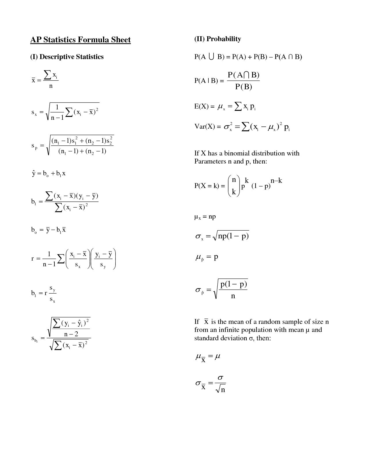 Ap Statistics Formula Sheet Ap Statistics Formula Sheet I