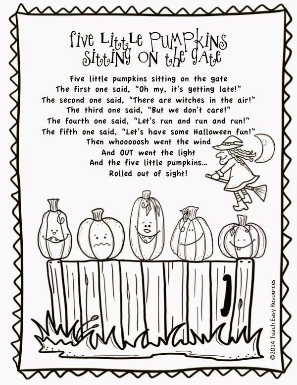 Teach Easy Resources Free Five Little Pumpkins Sitting On The Gate Poem And Colouring Sheet