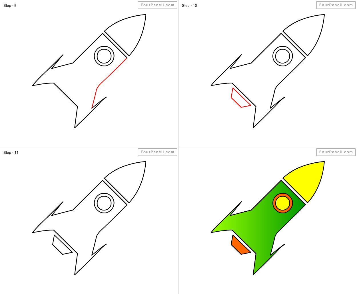 How To Draw Rocket For Kids Step By Step Drawing Tutorial