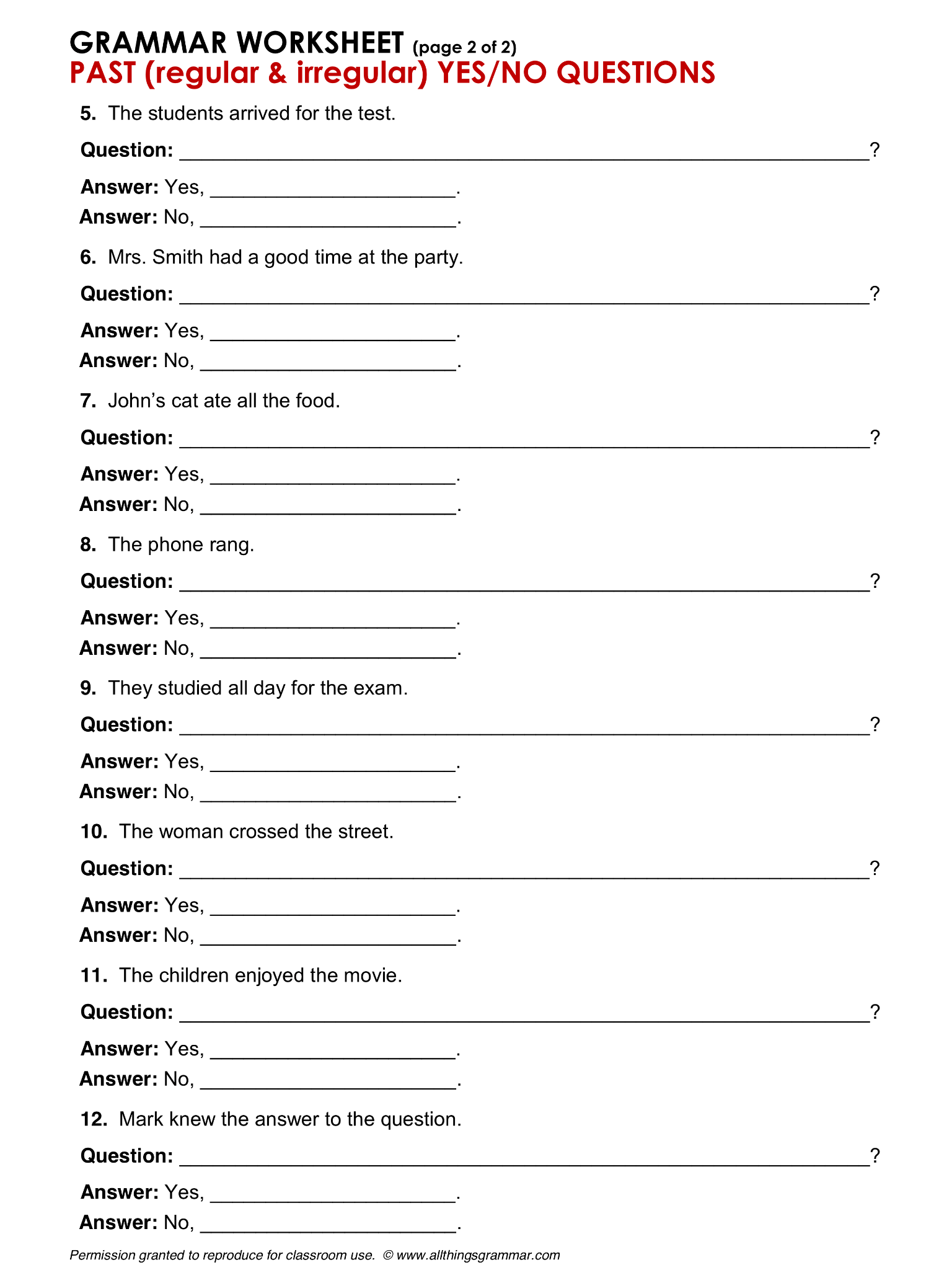 Worksheet For Yes No Questions