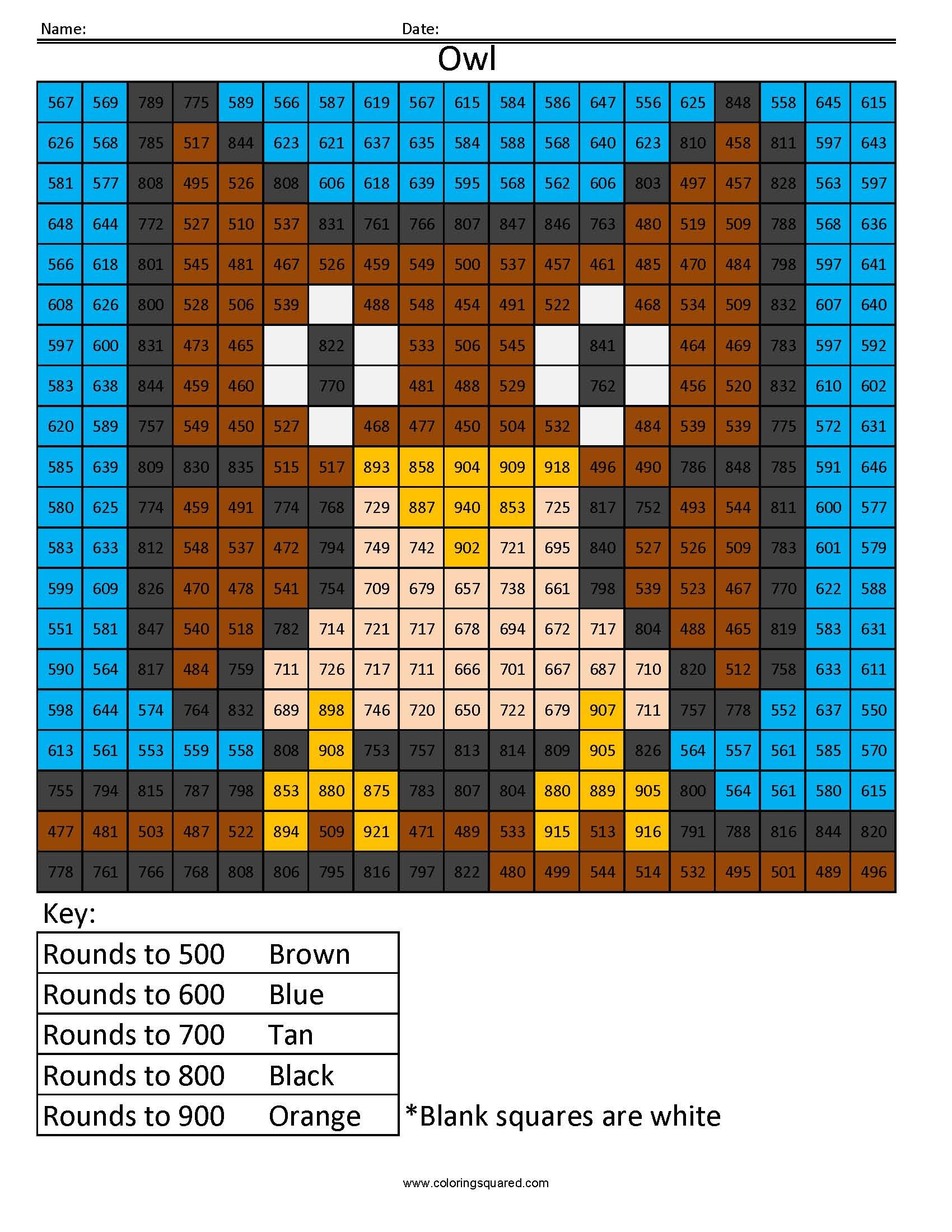 Owl Rounding Hundreds Place Math For Kids Coloring Sheets