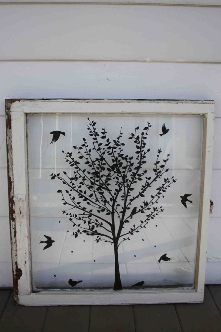 Great idea for vinyl on an old window  Art projects I want to do
