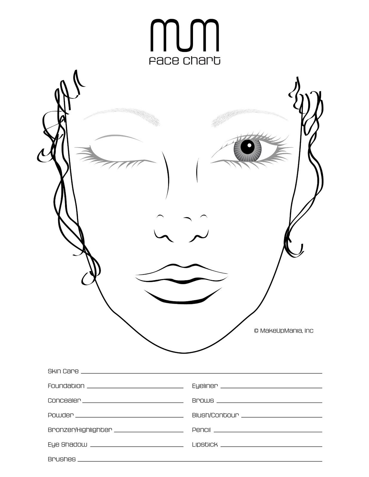 Blank Face Chart Temples Male And Female Hi All Hope