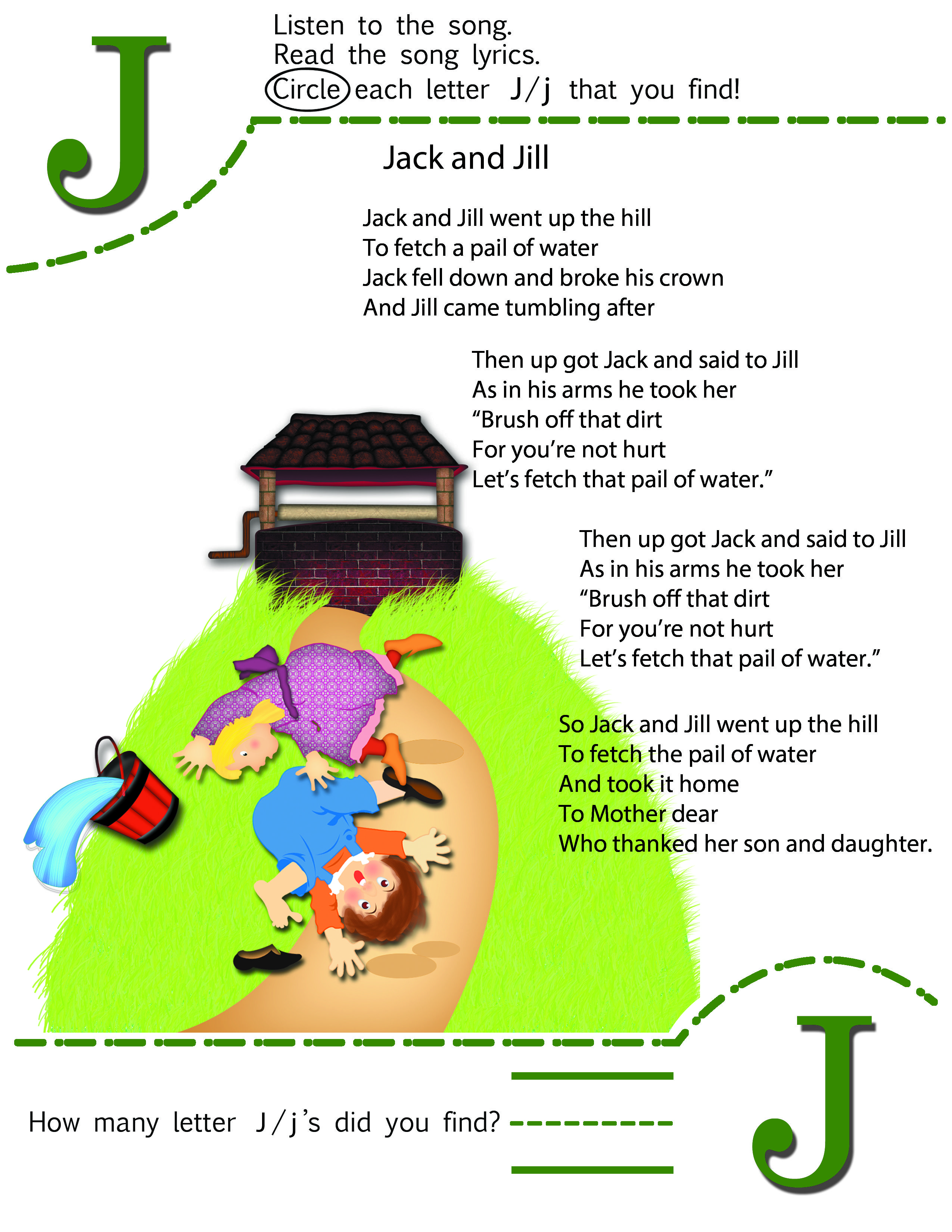 Circle The Letter J Worksheet And Nursery Rhyme