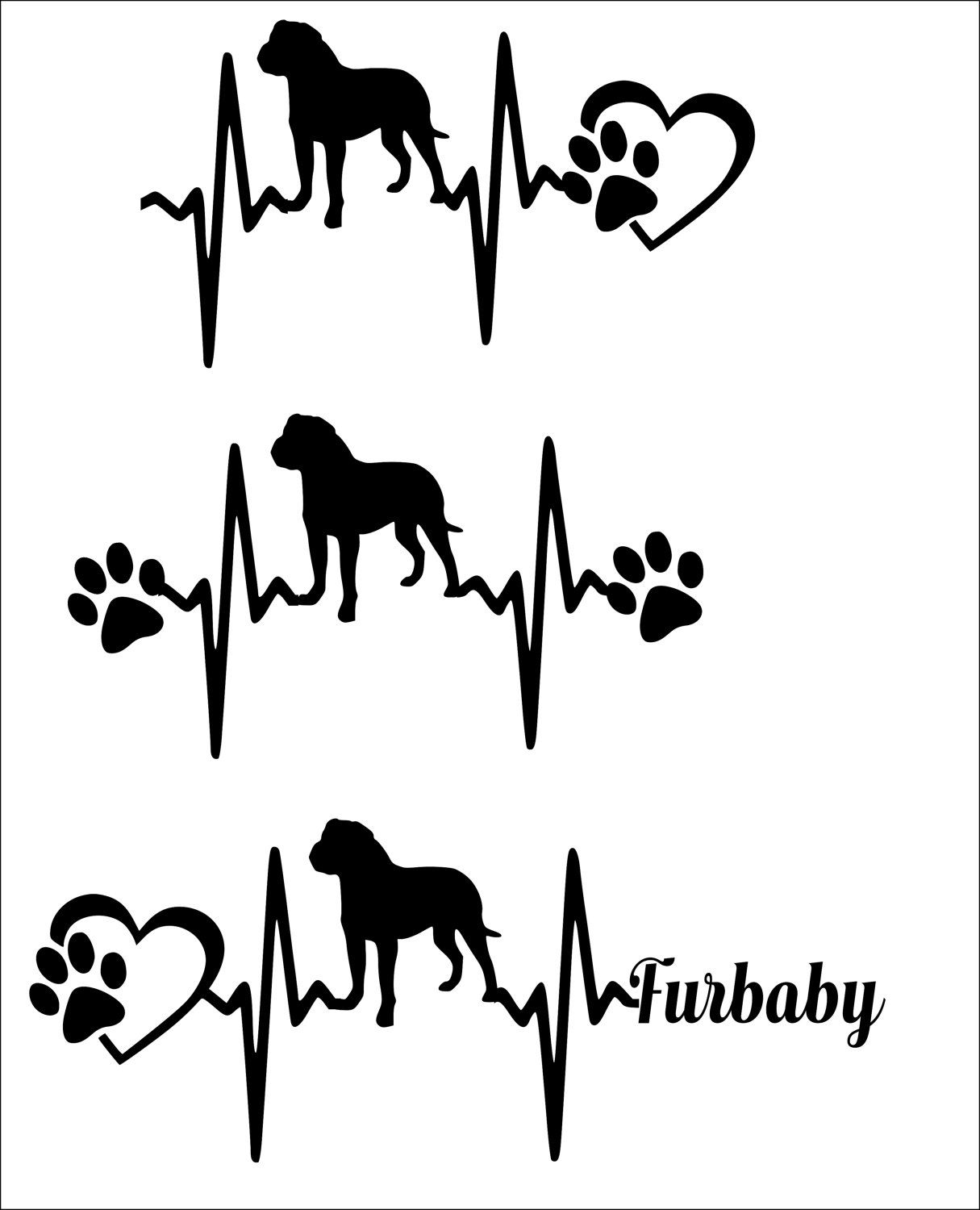Svg Cut File Rottweiler Solid Heartbeat Paw With Heart