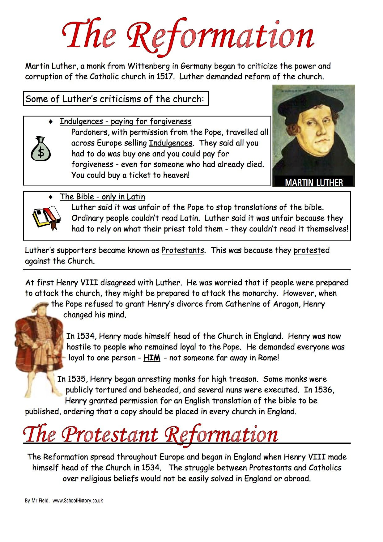 English Reformation Worksheets