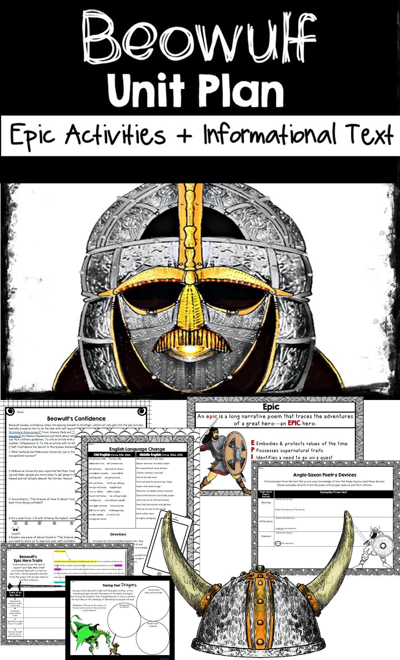 Beowulf Unit Plan With Beowulf Activities Informational