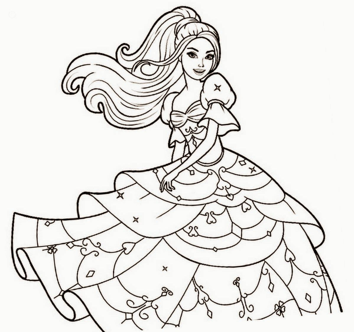Nice Barbie Coloring Colour Drawing Free Wallpaper Check
