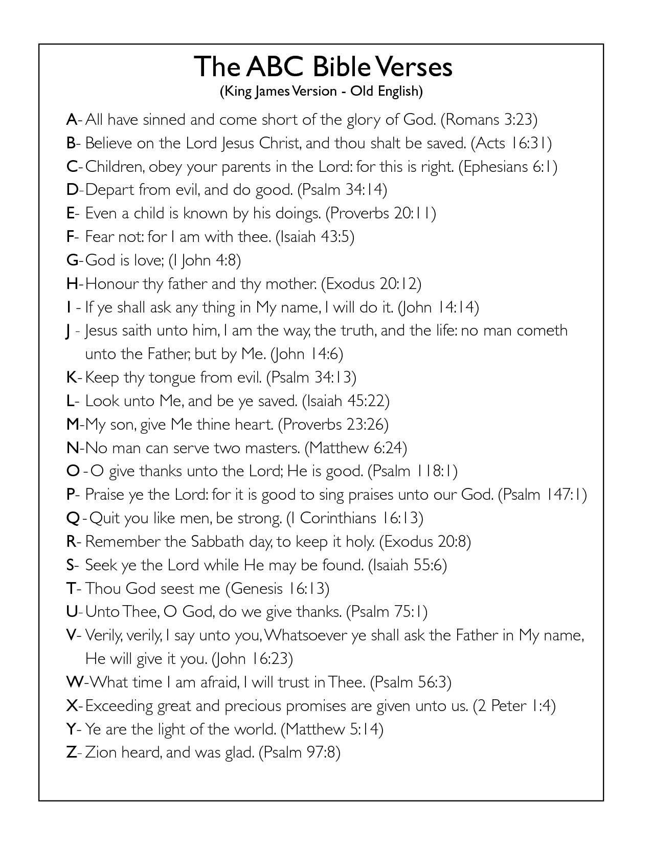Alphabet Bible Verses Kjv Gt Read One Man S Amazing