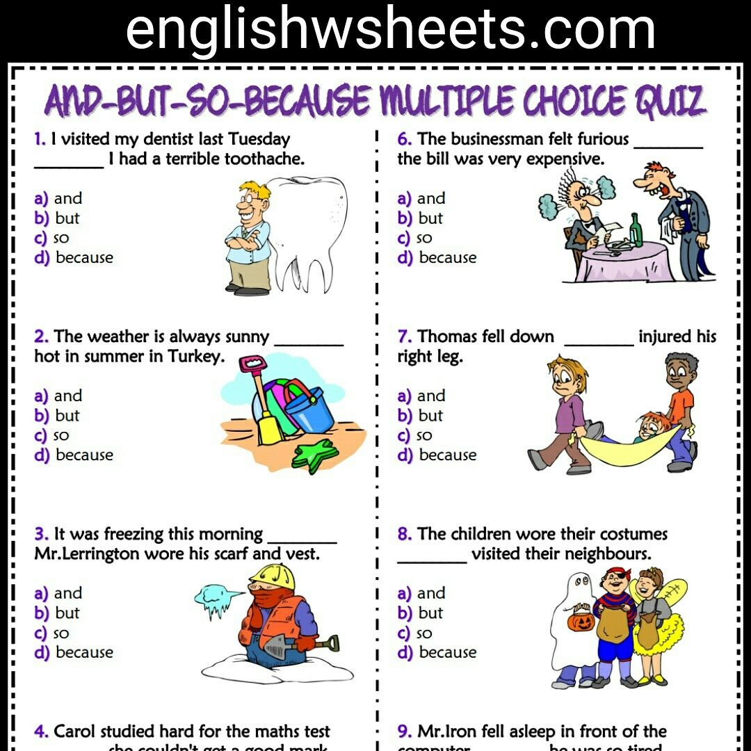 And But So Because Esl Printable Multiple Choice Quiz For