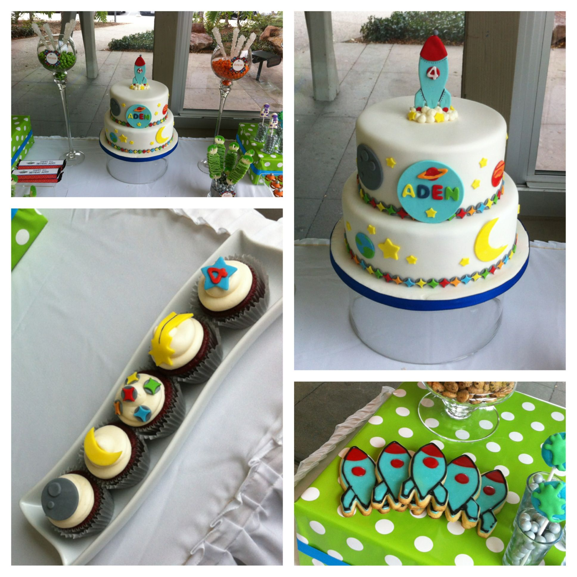 Outer Space Cake And Party Theme Cake Cupcakes And