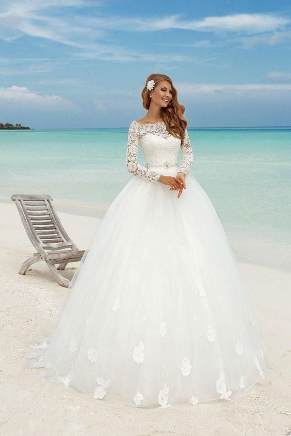 Modest Country Wedding Dress White Muslim Custom Made Long ...