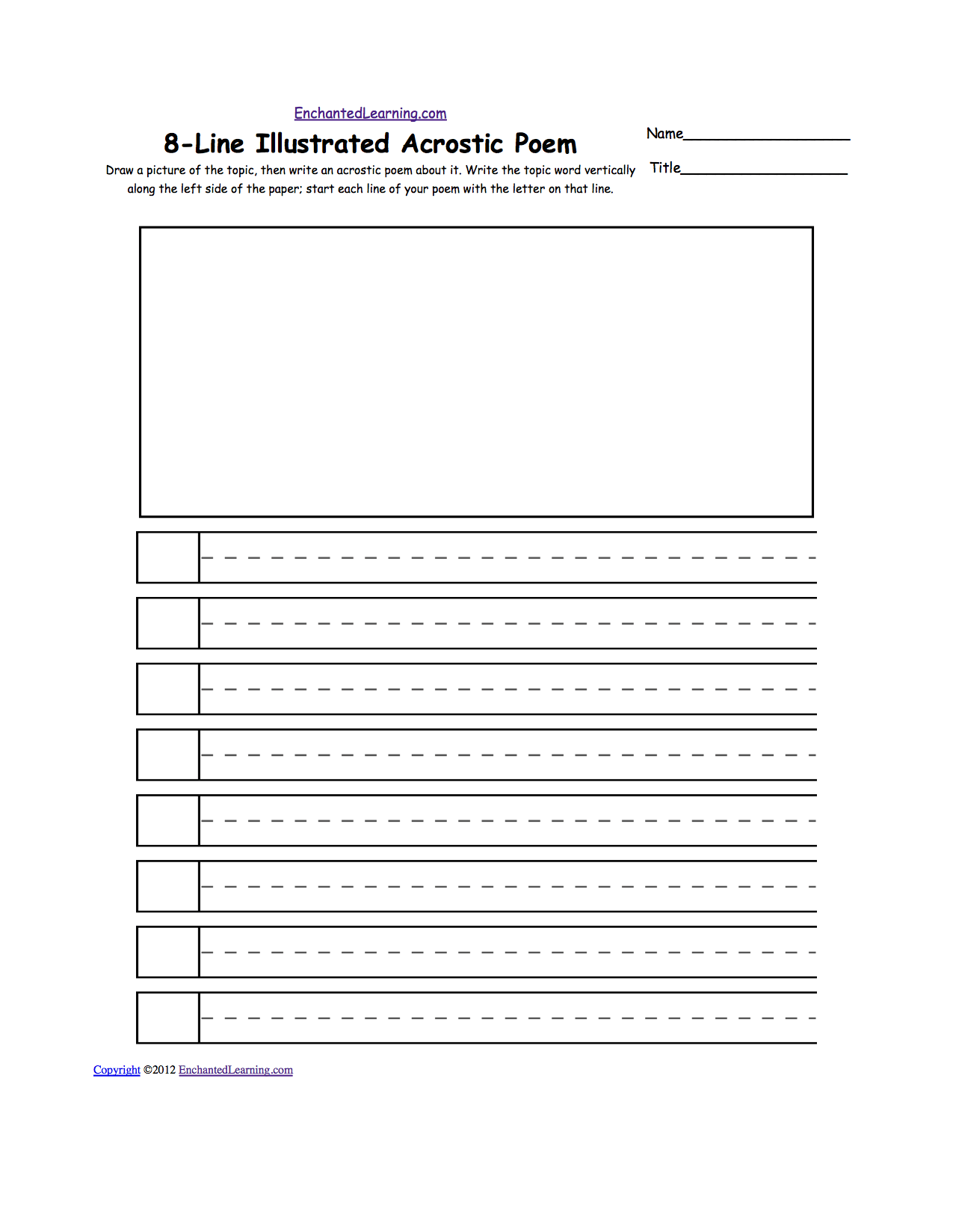 Blank Illustrated Acrostic Poem Worksheets Handwriting Lines Worksheet Printout